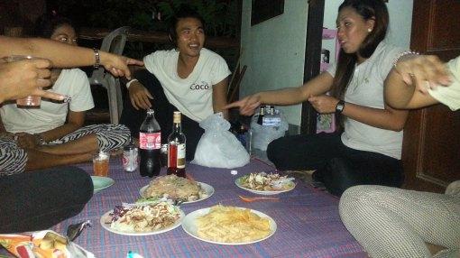 Lite party á la Thai style vid vårt boende.